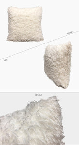 Off white Eco Feather / Fur Fluffy Cushion Covers