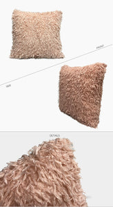 Beige Eco Feather / Fur Fluffy Cushion Covers