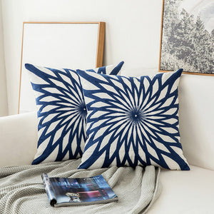 Scandinavian embroidery cushion cover - navy - Star - Indimode