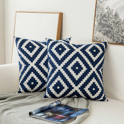 Scandinavian embroidery cushion cover - navy - Square - Indimode