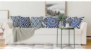 Scandinavian embroidery cushion cover - navy - Florina - Indimode