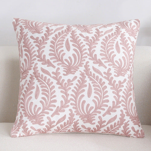 Scandinavian embroidery cushion cover - pink - Floral - Indimode