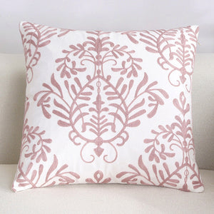 Scandinavian embroidery cushion cover - pink - VIne - Indimode