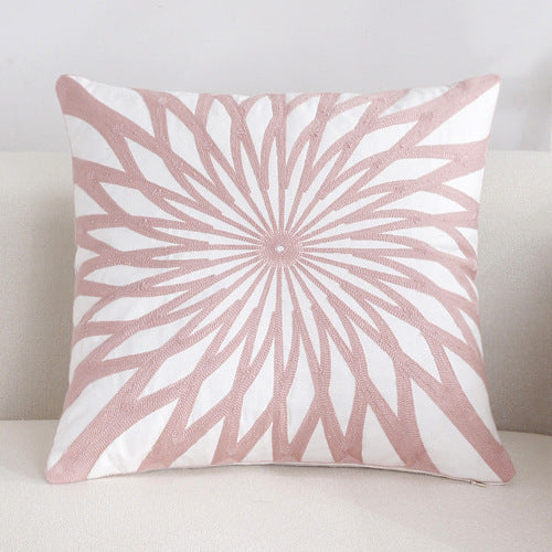 Scandinavian embroidery cushion cover - pink - Star - Indimode