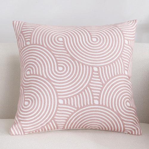 Scandinavian embroidery cushion cover - pink - Spiral - Indimode