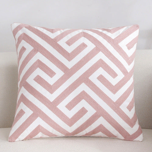 Scandinavian embroidery cushion cover - pink - Maze - Indimode