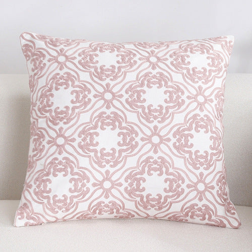 Scandinavian embroidery cushion cover - pink - Daisy - Indimode