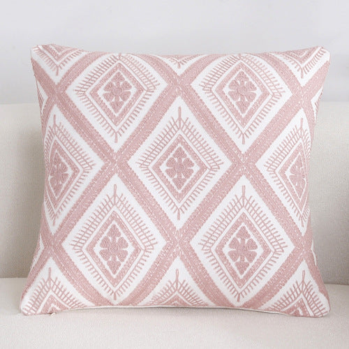 Scandinavian embroidery cushion cover - pink - Diamond - Indimode