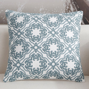 Scandinavian embroidery cushion cover - teal - Daisy - Indimode