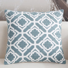 Scandinavian embroidery cushion cover - teal - Floral - Indimode