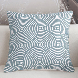 Scandinavian embroidery cushion cover - teal - Spiral - Indimode