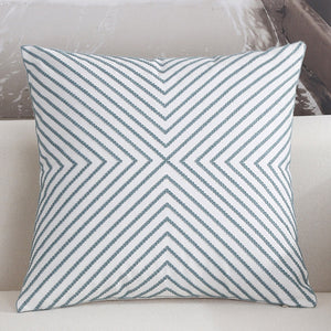 Scandinavian embroidery cushion cover - teal - Striped - Indimode