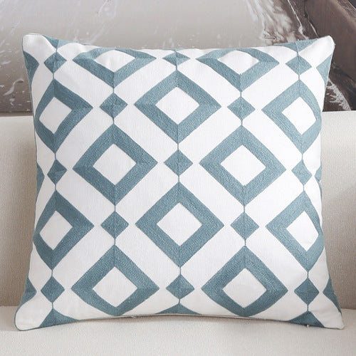 Scandinavian embroidery cushion cover - teal - Squares - Indimode