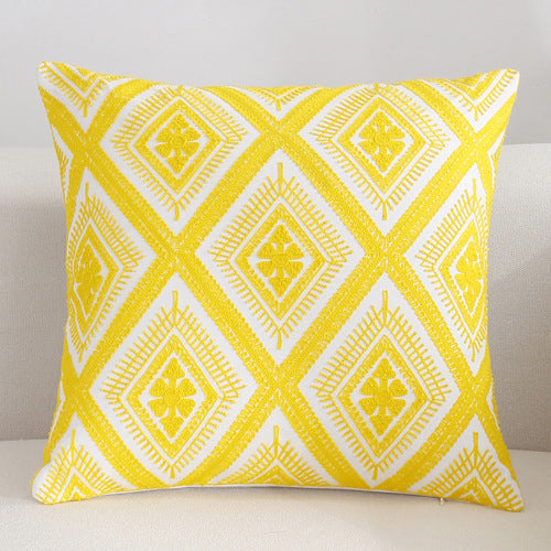 Scandinavian embroidery cushion cover - yellow - Diamond - Indimode