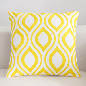 Scandinavian embroidery cushion cover - yellow - Retro - Indimode