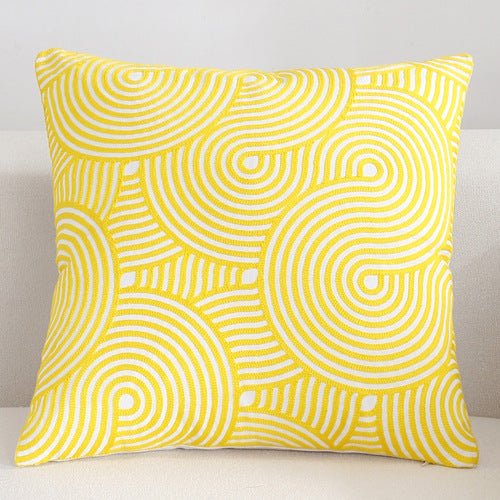 Scandinavian embroidery cushion cover - yellow - Spiral - Indimode