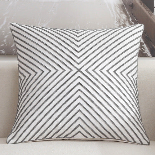 Scandinavian embroidery cushion cover - grey - Striped - Indimode
