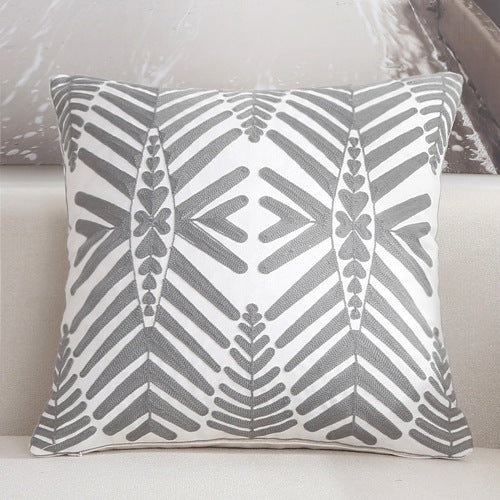 Scandinavian embroidery cushion cover - grey - Willow - Indimode
