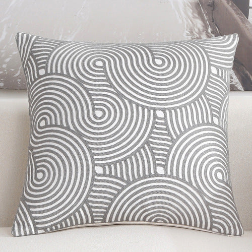 Scandinavian embroidery cushion cover - grey  - Spiral - Indimode