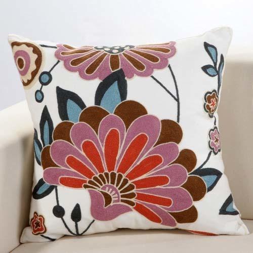 Boho Retro Pink Floral Embroidery Cushion Cover - Indimode