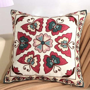Boho Red Butterfly Embroidery Cushion Cover - Indimode
