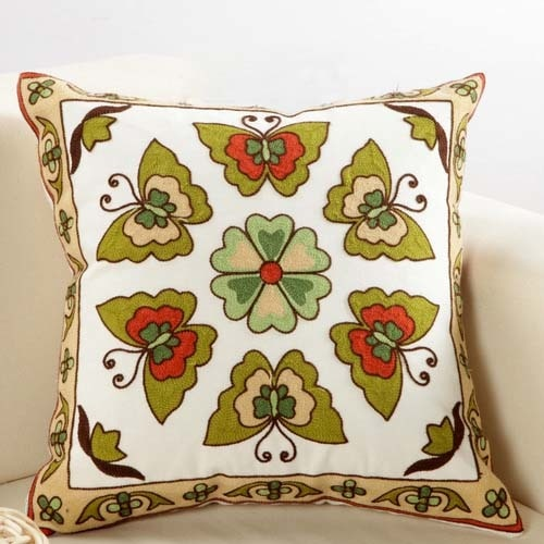Boho Green Butterfly Embroidery Cushion Cover - Indimode
