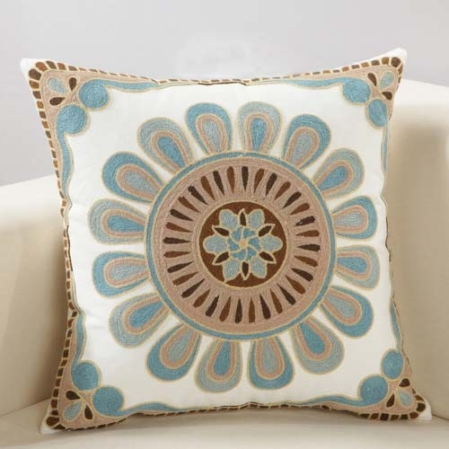 Boho Geometric Floral Embroidery Cushion Cover - Indimode