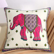 Boho Pink Elephant Floral Embroidery Cushion Cover - Indimode