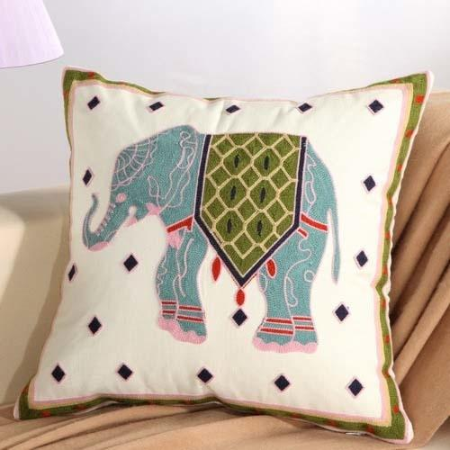 Boho Blue Elephant Floral Embroidery Cushion Cover - Indimode