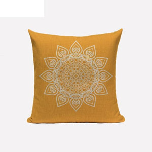 yellow mandala cushion cover