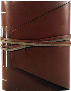 "6"" x 8"" Leather Journal - Sketchbook with Two Lace Strap Ties"
