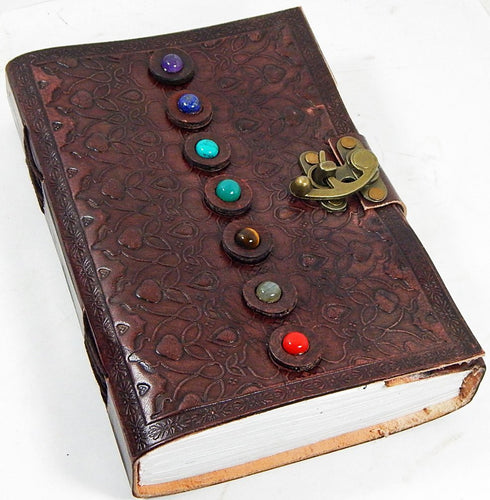 7 Stone Chakra Leather Journal with Latch 6