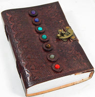 "7 Stone Chakra Leather Journal with Latch 6"" x 9"""
