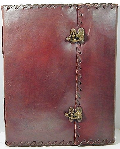8 x 10 Lace Edge Leather Journal with 2 Brass Latches