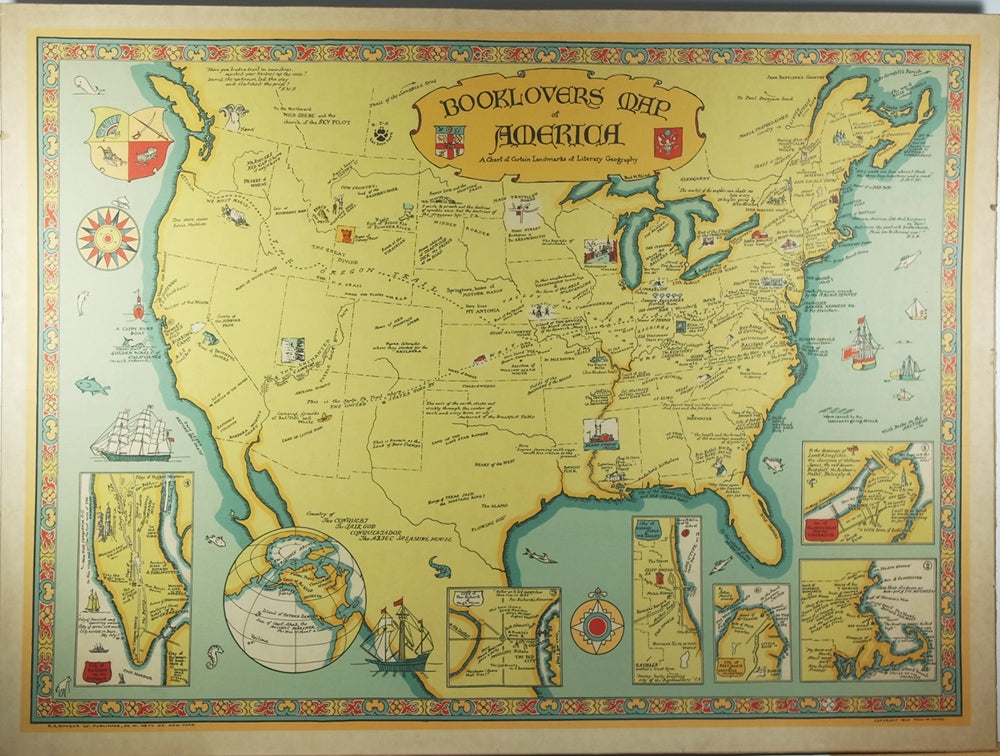 Booklovers Map of America A Chart of Certain Landmarks of Literary Geography - Antique Original