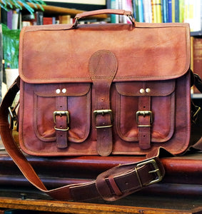 "Deluxe 15"" Handmade Leather Briefcase/Messenger Bag with Pockets"