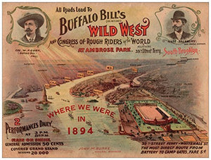 Buffalo Bill's Wild West Show 1895 18 x 24 Poster New York City Brooklyn