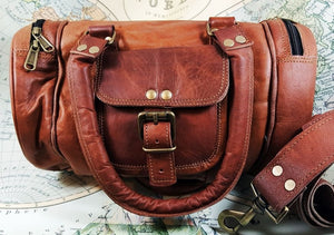 "12"" Leather-Boho-Style-Mini-Duffle-Bag-with-4-Pockets-Handles-and-Shoulder-strap"