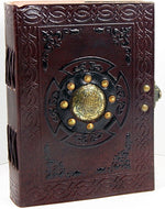 "Brass 5"" x 7""  Mediallion Leather Journal with Latch"