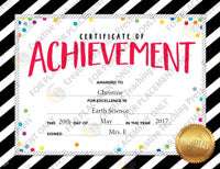 Bold & Bright Certificate of Achievement Large Award template