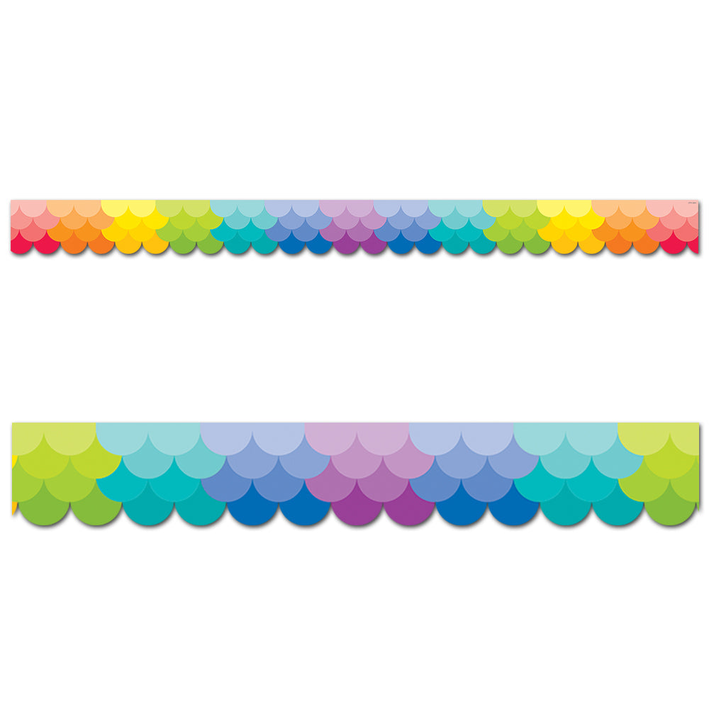 Painted Palette Ombre Rainbow Scallops Border