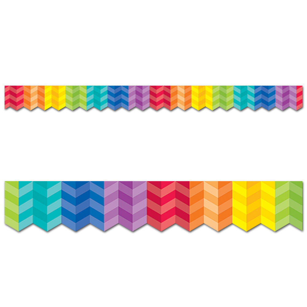 Painted Palette Rainbow Herringbone Border