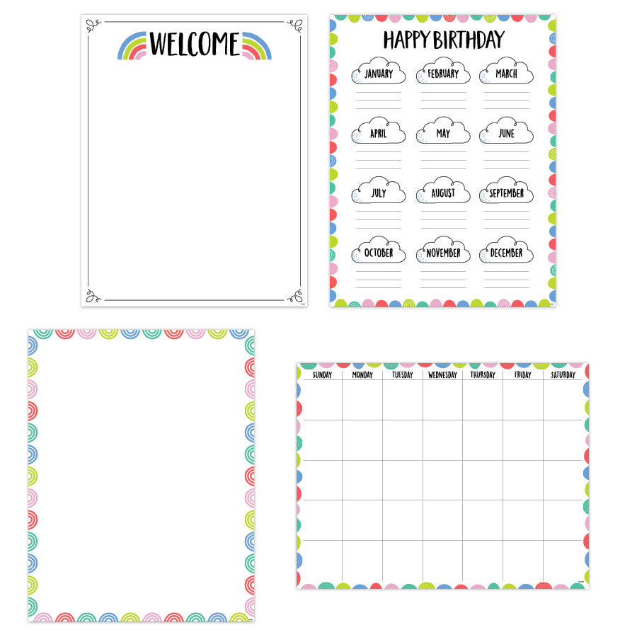 Rainbow Doodles Classroom Essentials 4-Chart Convenience Pack