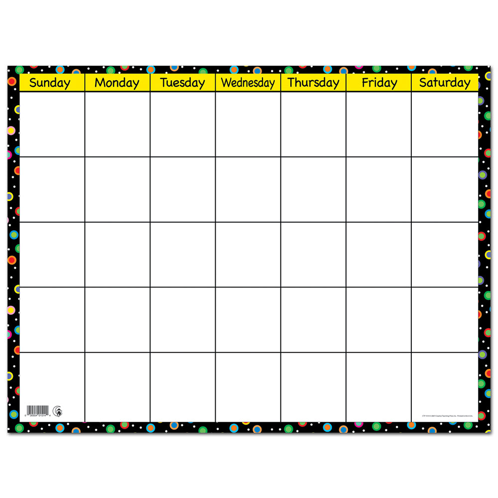 Dots on Black Small Calendar Chart