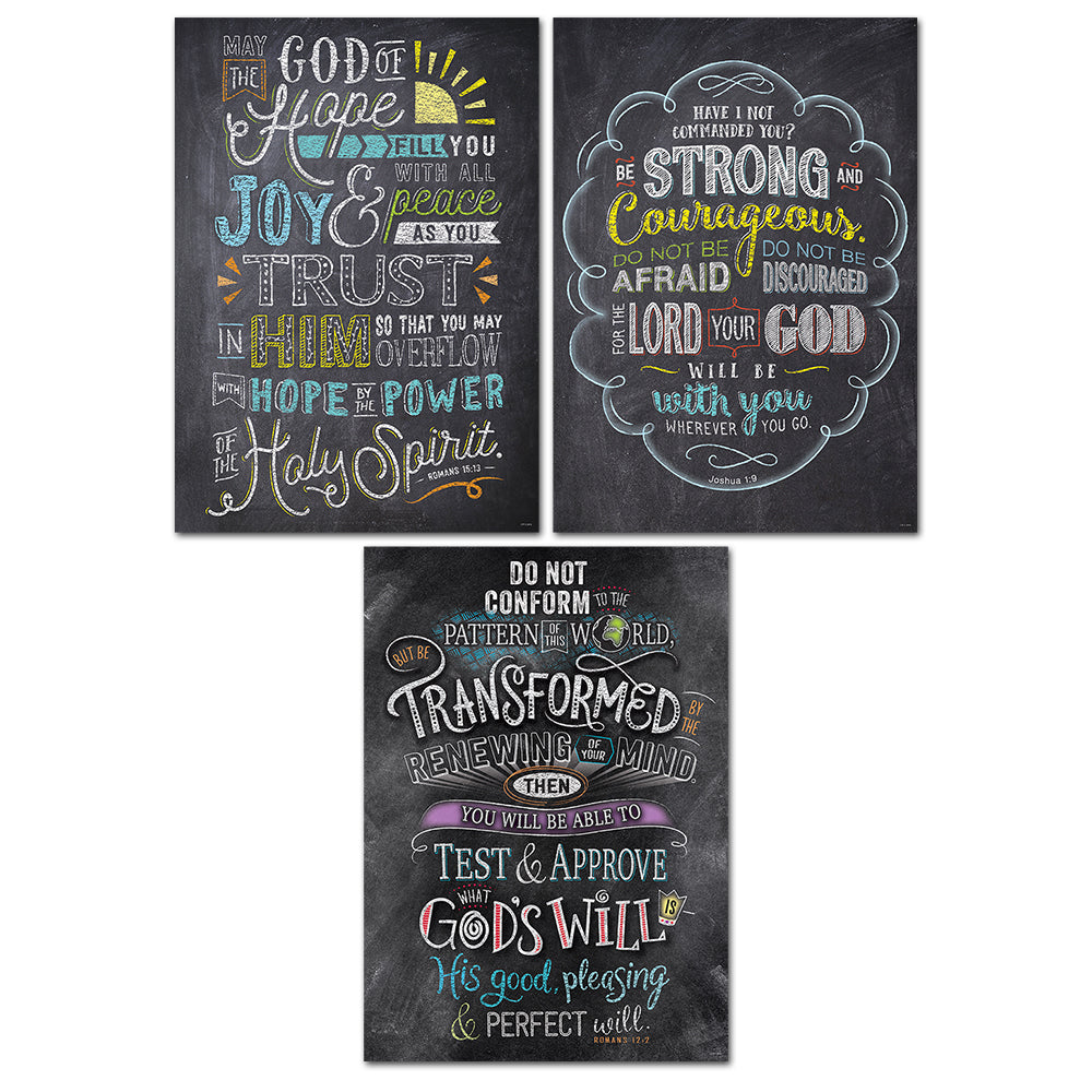 Bible Verses in Chalk Rejoice Inspire U Poster 3-Pack