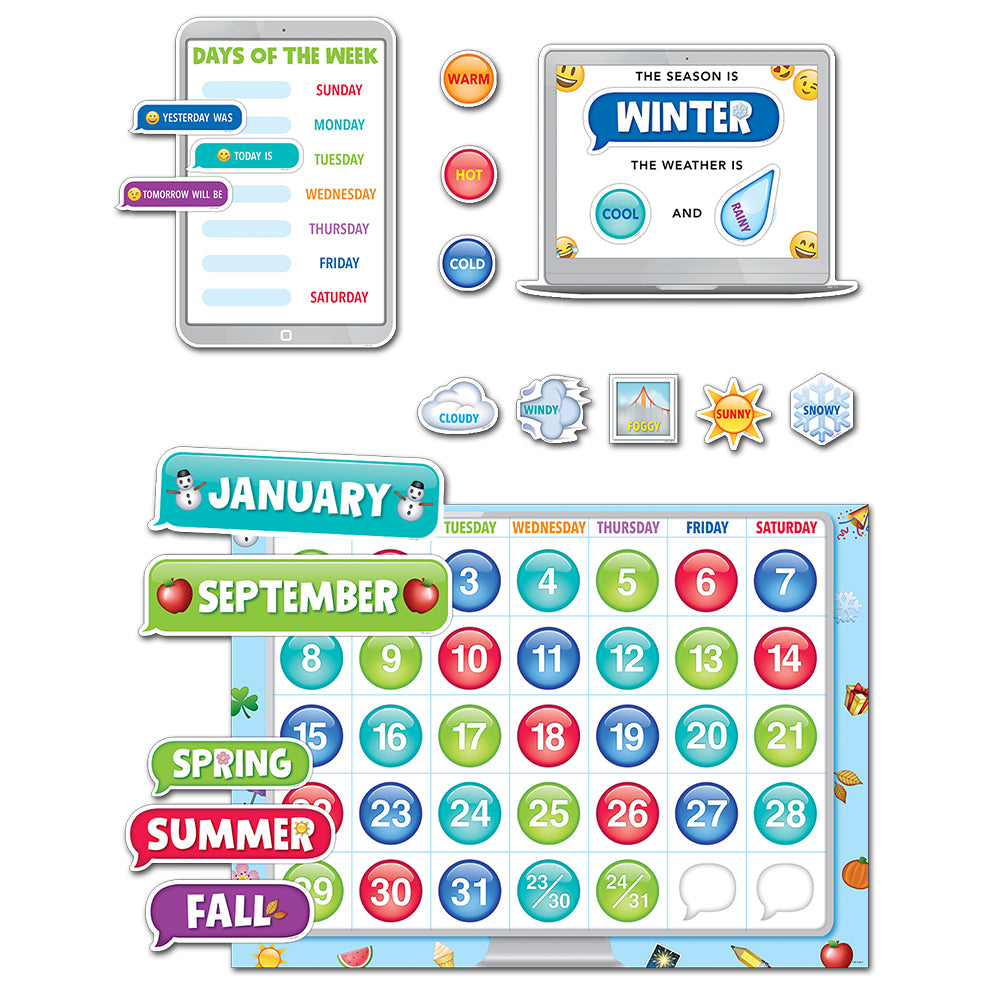 Emoji Fun Calendar Set Bulletin Board