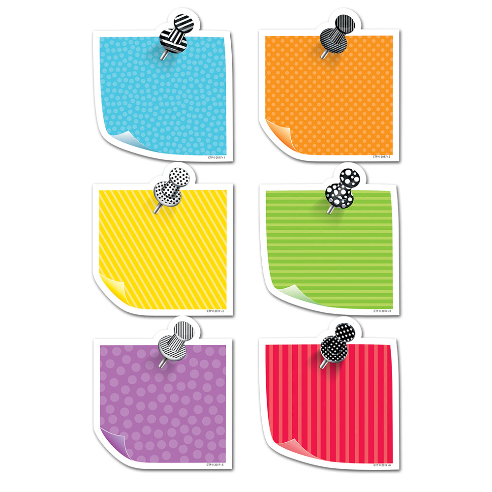 "Bold & Bright Sticky Notes 3"" Designer Cut-Outs"