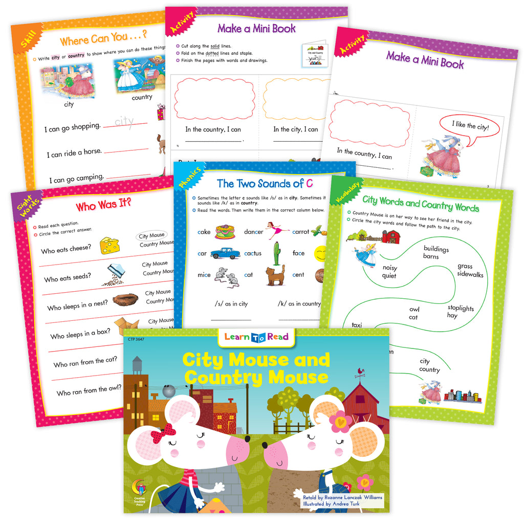 City Mouse And Country Mouse Ebook & Worksheets
