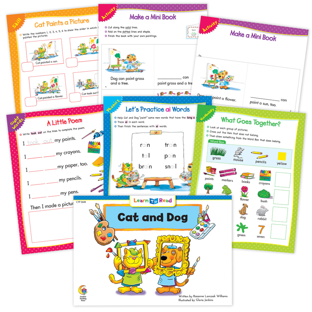 Cat And Dog At School Ebook & Worksheets
