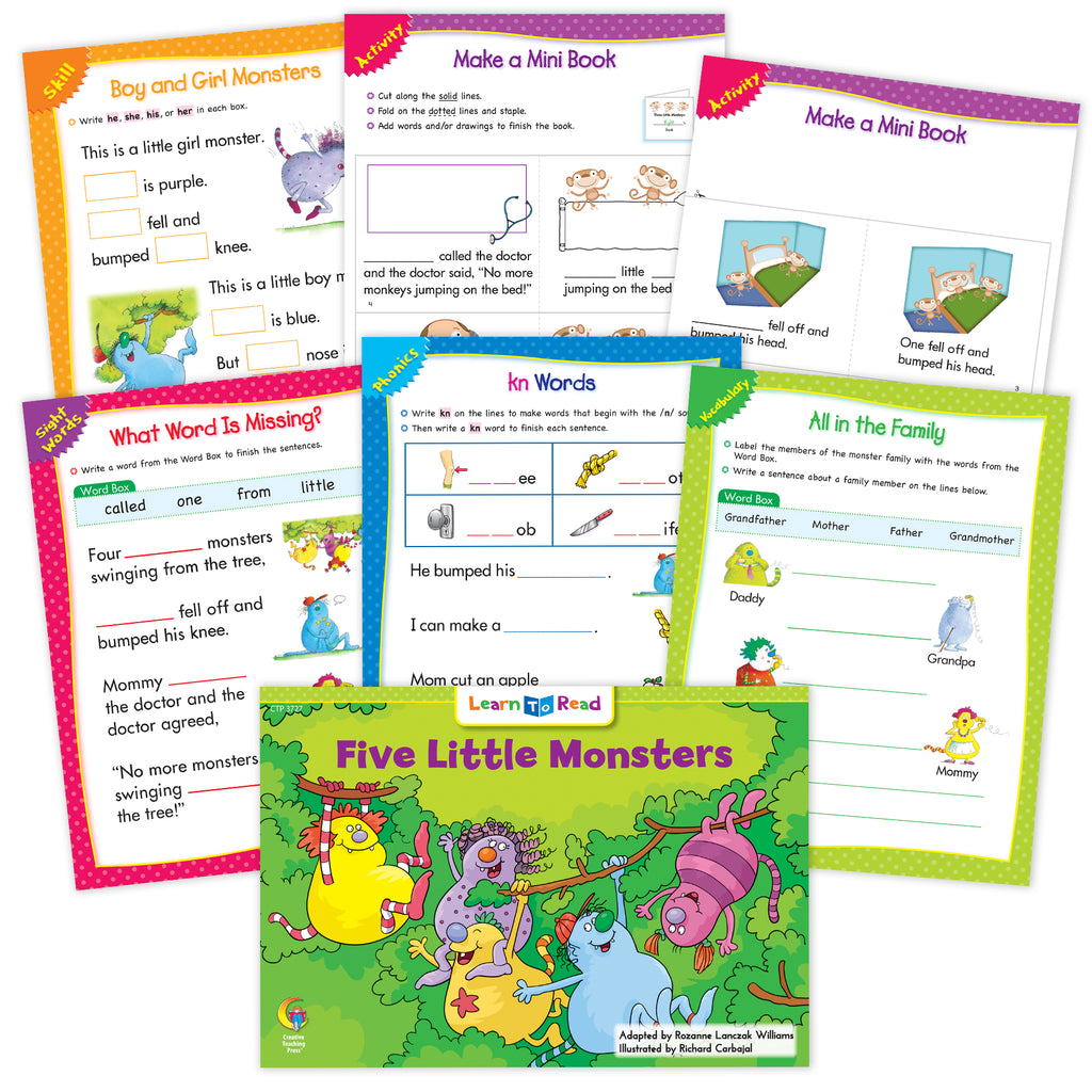 Five Little Monsters Went To School Ebook & Worksheets